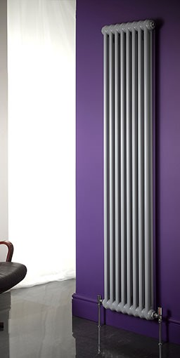 Roma vertical steel column radiator. Colour shown RAL 7001
