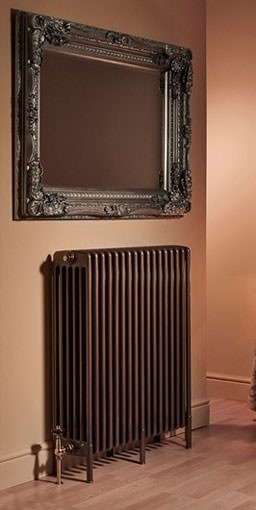roma steel column radiator with feet. Colour shown BRONZE