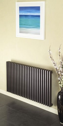 bassano horizontal contemporary designer radiator. Colour shown- BROWN TEX MET