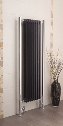 bologna vertical modern designer radiator. Colour shown BLACK TEX MET