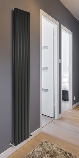 magenta curve aluminium designer radiator<br/>colour shown white aluminium