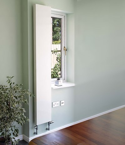 milano vertical flat panel contemporary radiator. Colour shown RAL 9016