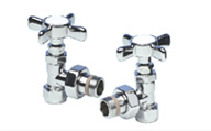 ITALIAN LUXURY VALVE SET CHROME 'X' HEAD ANGLED
