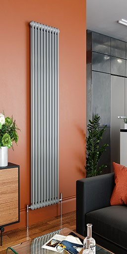 roma silver steel column radiator <br> colour shown RAL 9006 white aluminum gloss